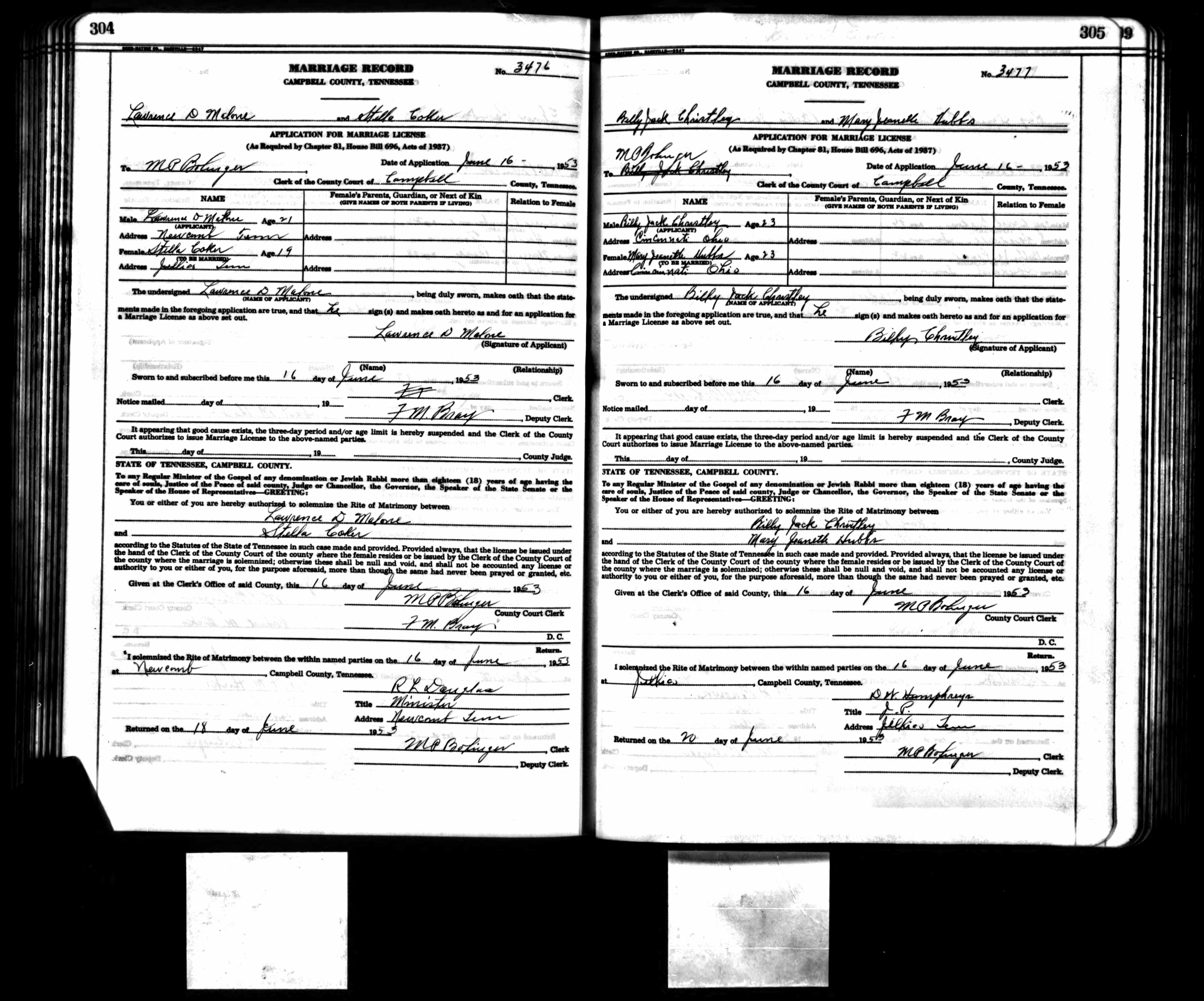 LD Malone and Stella Coker Marriage License